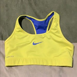 Nike Dri fit sports bra small lime yellow and blue